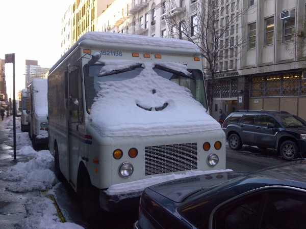 Smiling Snow Postal Truck