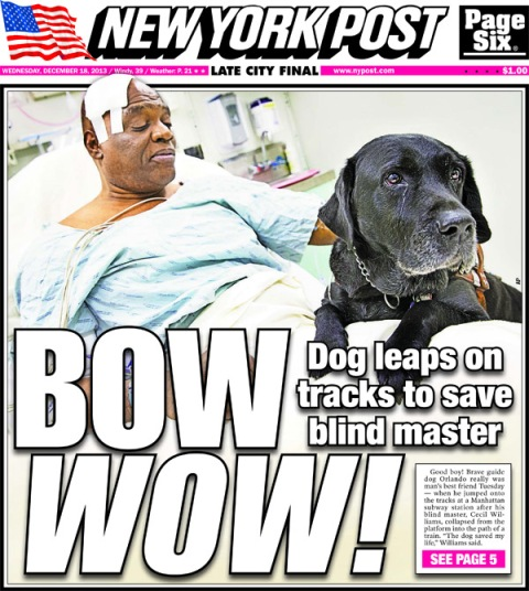 NY Post Cover -- Bow Wow -- 12-18-13